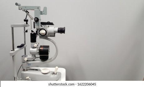 Side view of vintage ophthalmic bio microscope or slit lamp