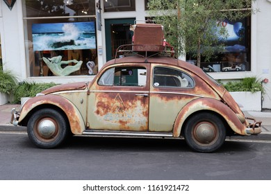 Side view of a Vintage Volkswagon taken in Carmel, California  United States of America taken on August 21, 2018