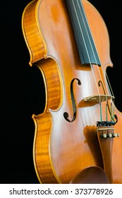 A side view of a violin.