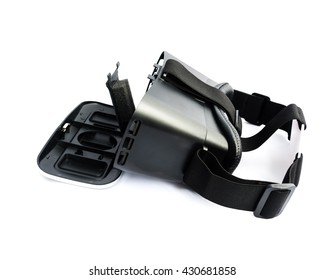 Side view of VR Glasses or Virtual Reality Headset use with smartphone. VR is an immersive experience in which your head movements are tracked in 3d world, making it ideally suited to game and movie.