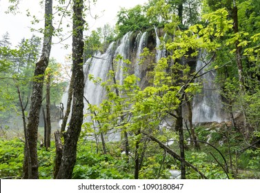 Side view of the waterfall cascade behind trees at Plitvice Lakes National Park in Croatia