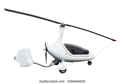 Side view of white autogyro. Isolated on white background