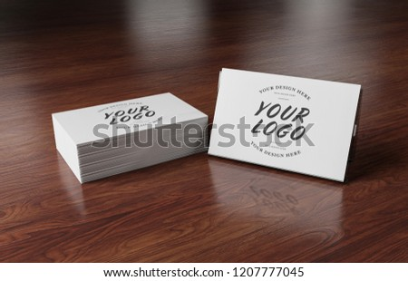 Side View White Business Card Stack Stock Photo Edit Now