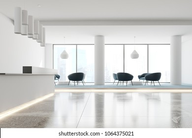 Side view of a white office interior with a marble and blue carpet floor, a white and black reception and an original ceiling lamp. A waiting area with armchairs. 3d rendering mock up