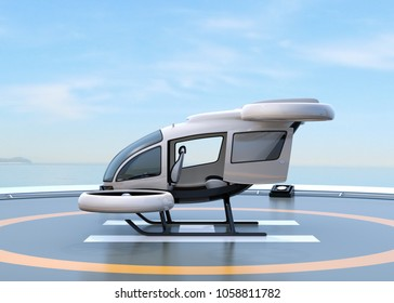 Side view of white self-driving passenger drone parking on the helipad. 3D rendering image.