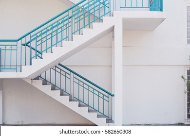 Side view of white stair interior