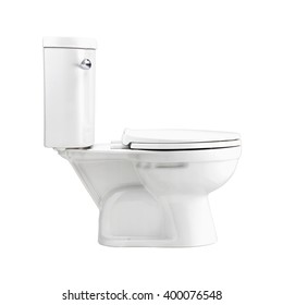 Side view - White toilet bowl bowl in a bathroom, isolated on white, photo image with clip path