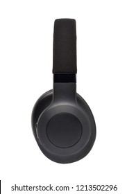 Side view of Wireless Over-Ear (full size) Headphones, Black leather isolated on white background with clipping path
