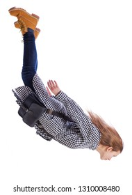 Side view of woman in zero gravity or a fall. girl is flying, falling or floating in the air.  side view of person. Isolated over white background. A girl with fluttering hair falls and looks down.