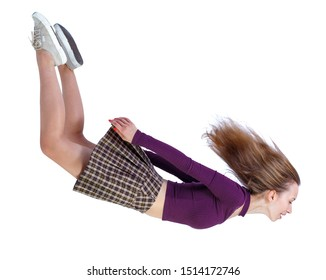 Side view of woman in zero gravity or a fall. girl is flying, falling or floating in the air. Side view people collection. side view of person. Isolated over white background.