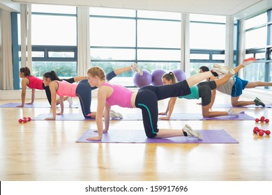 Side view of women stretching on mats at yoga class in fitness studio