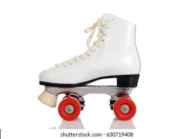 side view women white quad roller skate