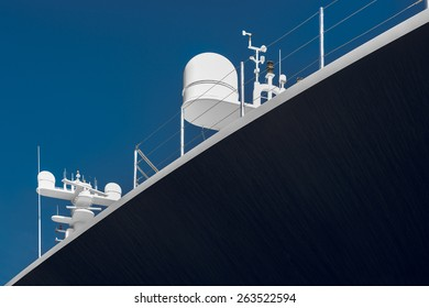 Side View of Yacht. Detail of Luxury Yacht with Navigation Equipment
