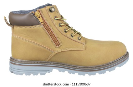 Side view of yellow, brown and gray suede man high boot (tracking boot) with shoelaces, zipper and felt, isolated on white