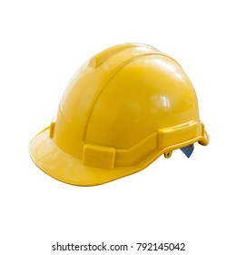 Side view Yellow Safety Engineer Helmet ,Isolated white background