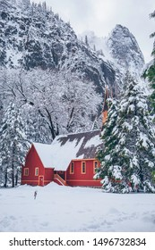 A side view of the Yosemite Vally Church covered in snow at the Yosemite National Park in Yosemite, California.