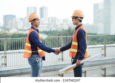 Side view of young Asian guys in safety helmets and waistcoats holding level and blueprint and shaking hands while standing near border on construction site