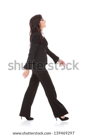 Standing Woman And Strolling Man Iphone >> Side View Young Business Woman Walking Stock Photo Edit Now