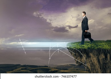 Side view of young businessman crossing abstract digital bridge on landscape background. Innovation and progress concept