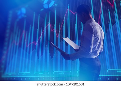 Side view of young businessman with document standing on abstract blue forex chart background. Finance and trade concept. 3D Rendering