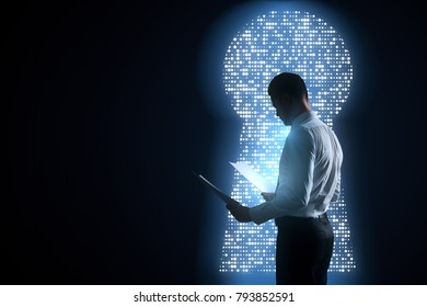 Side view of young businessman looking at document on abstract black background with diigtal keyhole opening. Work and access concept. 3D Rendering