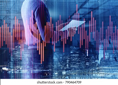 Side view of young businessman on abstract background with forex chart. Finance and investment concept. Double exposure