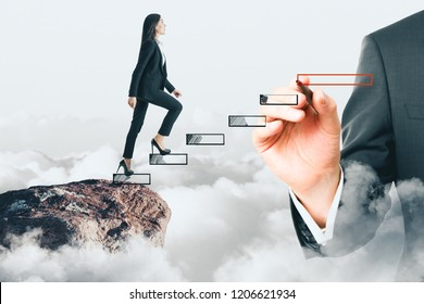 Side view of young businesswoman climbing hand drawn stairs on sky cliff background. Career development and opportunity concept