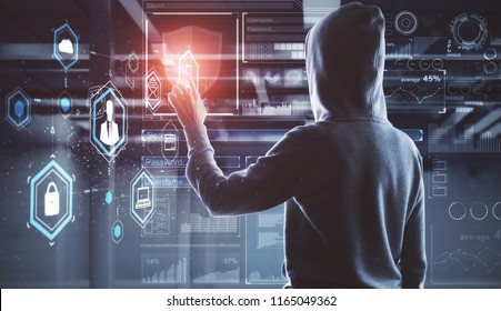 Side view of young hacker with digital business interface in blurry interior. Hacking and malware concept. Double exposure