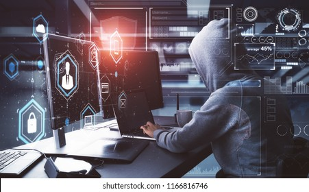 Side view of young hacker with digital business interface in blurry interior. Hacking and criminal concept. Double exposure