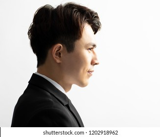Side view of young handsome man face