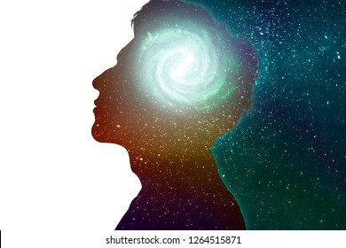 Side view of young man brain and thinking concepts