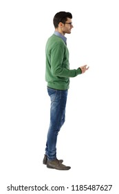 Side view of young man talking over white background. Full size.