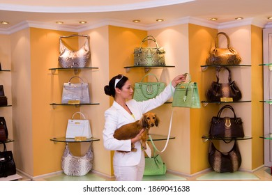 Side view of a young woman carrying a dog and looking at a green designer handbag in a glamorous boutique.