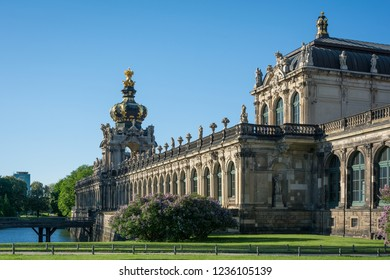 Side view of Zwinger palace including Kronentor with clear blue sky, Dresden ,Germany, 30th April 2018