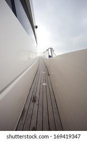 side walk way  view of luxury yacht