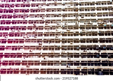 The side wall of the building and housing. Lined with Air Con with soft focus