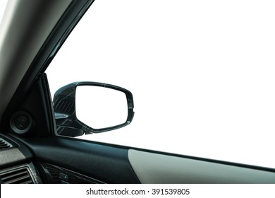 Side window and wing mirror, isolated on white background