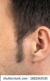 sideburn man in close up