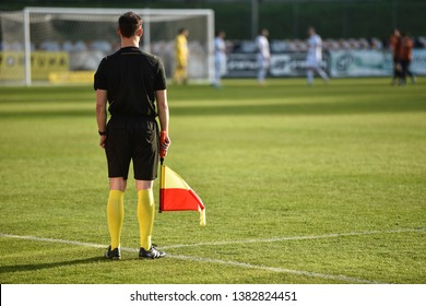 Sideline referee staying by touch-line during football match.