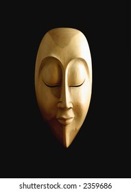 Side-Lit Carved Wooden Mask