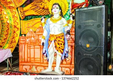 Sideshwar  Temple, Gurgaon (Gurugram), Haryana, India - 10 Nov. 2018: Sculpture of lord Shiva with Brahm's fifth head. Lord Shiva cuts off the fifth head of Lord Brahma