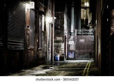 Sidestreet at Night, Belfast, Northern Ireland.