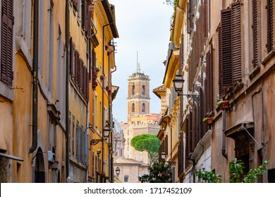 Sidestreet in Rome Italy showing an small church