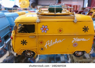 Side,Turkey - may 8,2019:Vintage collectible car models.Souvenirs for tourists