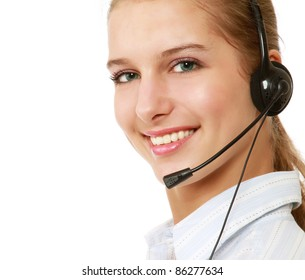 Side-view of excited customer service operator isolated