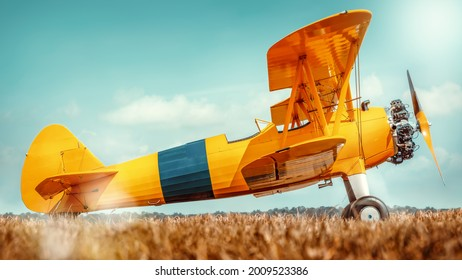 sideview of an historical biplane