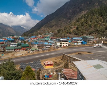 Sideview of the Runway of Luka (Tenzing Hilary) Airport in Nepal and Lukla Village