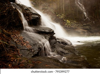 Side-view of the splashing Bald River Falls in Tellico Plains, TN