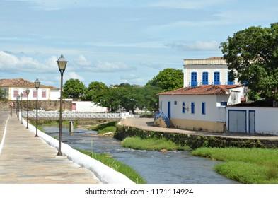 Sidewalk by the river in Cidade de Goias Brazil
