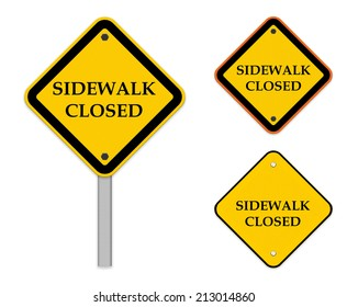 Sidewalk closed sign - road sign symbol isolated on white background